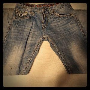 Men's Rock Revival boot cut light wash jeans